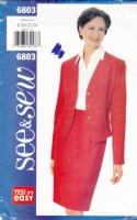 Butterick 6803 Petite Career Suit Jacket & Skirt Sewing Pattern Plus Size 20-24 B42-46 Uncut
