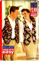 Butterick 6889 Unisex Loose-fitting, Lined Vest Sewing Pattern XS-M B30-40 Used