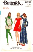Butterick 6890 70s Empire Waist, Flutter Sleeve Dress Sewing Pattern 9/10 B30 Used