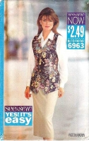 Butterick 6963 Long Vest and Slim Skirt Sewing Pattern 12-16 B34-38 Uncut