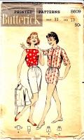 Butterick 8609 50s Bermuda Shorts, Gathered Waist Jacket, Boat Neck Top Sewing Pattern 13 B33 Used