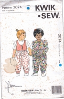 Kwik Sew 2074 Toddler Jumpsuit, Romper Sewing Pattern 1T-4T Uncut