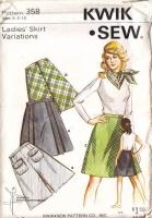 Kwik Sew 358 Front Button, Pleated Skirt Sewing Pattern 6-10 Waist 23-25 Uncut