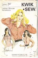 Kwik Sew 367 70s Wing Collar Blouse, Shirt, Top Sewing Pattern 12-16 B37-40 Used