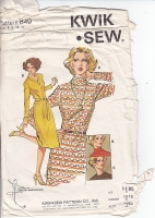 Kwik Sew 849 Turtleneck or V-Neck Dress Sewing Pattern 6-8 B32-34 Used