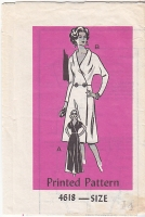 Mail Order 4618 Shawl Collar, Coatdress, Dress Sewing Pattern 14 B36 Uncut