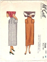 McCall 7544 40s Straight, Secretary, Big Pocket Skirt Sewing Pattern Waist 30 Used