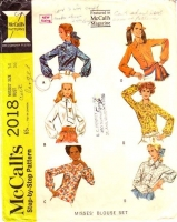McCalls 2018 60s Tie Neck Blouse, Shirt  Sewing Pattern 14 B36 Used
