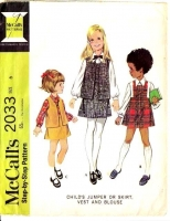 McCalls 2033 Child's Jumper Dress, Skirt, Vest & Blouse Sewing Pattern 6 Used