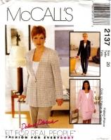 McCalls 2137 Lined Jacket, Pants, & Skirt Sewing Pattern 20 B42 Uncut