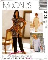 McCalls 2138 Tunic Top, Pants & Skirt Sewing Pattern 20 B42 Uncut