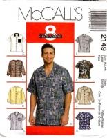 McCalls 2149 Men's Button Front Shirt Sewing Pattern Large 42-44 Uncut