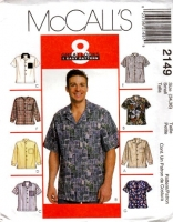 McCalls 2149 Men's Button Front Shirt Sewing Pattern Small 34-36 Uncut