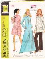 McCalls 2173 60s Misses Robe, Lounging Jacket & Pants Sewing Pattern 10 B32 Used