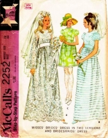 McCalls 2252 60s Bell or Puff Sleeve Wedding, Bridesmaid Dress Sewing Pattern 12 B34 Used