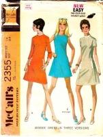 McCalls 2355 70s A-Line Dress Sewing Pattern 12 B34 Uncut