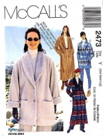 McCalls 2473 Shawl Collar Hip Length Jacket or Trench Coat Sewing Pattern S-L B31-40 Uncut