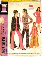 McCalls 2477 1970s Groovy Jacket, Vest, Skirt, Pants, & Blouse Sewing Pattern 18.5 B41 Used