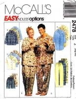 McCalls 2478 Nightshirt, Pajamas, PJs, Sleepwear Sewing Pattern XL-XXL Uncut