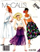 McCalls 2530 80s Shaped Yoke Skirt Sewing Pattern 14 Waist 28 Uncut