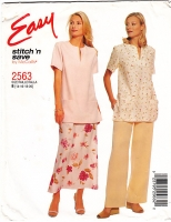 McCalls 2563 Tunic Top, Pants & Skirt Sewing Pattern 14-20 B36-41 Uncut