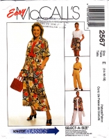 McCalls 2567 Shirt, Top, Pull-on Skirt, Pants & Shorts Sewing Pattern 14-18 B36-40 Uncut
