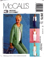 McCalls 2675 Collarless Jacket, Dress, Pull-on Pants & Top Sewing Pattern 14-18 B36-40 Uncut