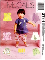 McCalls 2711 Infants Dress, Top, Shirt & Capri Pants Sewing Pattern S-XL Uncut