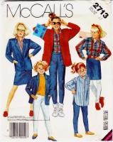 McCalls 2713 Girls' Jacket, Shirt, Skirt, Pants Sewing Pattern 12 Uncut
