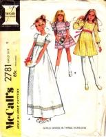 McCalls 2781 70s Girls Flower Girl, Graduation, Dress-up Dress Sewing Pattern 8 B27 Used