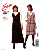 McCalls 2842 V Neck Jumper Dress, Knee & Ankle Length Sewing Pattern 12-18 B34-40 Uncut