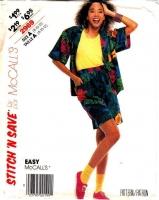McCalls 2969 80s Camp Shirt and Shorts Sewing Pattern 8-12 B31-34 Uncut