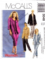 McCalls 3048 Women's Petite Shirt, Top, Pants Sewing Pattern 22W-28W B44-50 Uncut