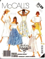 McCalls 3129 Button Front, Fitted Yoke, Flared Skirt Sewing Pattern Large Waist 32-34 Uncut