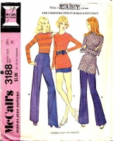 McCalls 3188 70s Flared Pants or Shorts Sewing Pattern Waist 25.5 Used