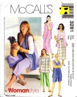 McCalls 3281 Plus Size Shirt, Vest, Pull-on Skirt, Cropped Pants, & Shorts Sewing Pattern 18-24W B40-46 Uncut