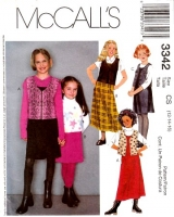 McCalls 3342 Girls Jumper Dress &  Vest Sewing Pattern 12 14 16 Uncut
