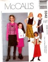 McCalls 3342 Girls Jumper Dress & Vest Sewing Pattern 3 4 5 6 Uncut