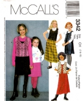 McCalls 3342 Girls Jumper Dress & Vest Sewing Pattern 7 8 10 Uncut