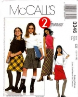McCalls 3346 Girls Bias Cut Skirt Sewing Pattern 12 14 16 Uncut