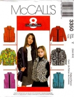 McCalls 3350 Girls Jacket & Vest Sewing Pattern XS-S 3 4 5 6 Uncut