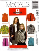 McCalls 3350 Girls Jacket & Vest Sewing Pattern M L XL 7-16 Uncut