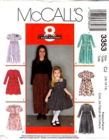 McCalls 3353 Girls Dress, Knee or Ankle Length Sewing Pattern 10 12 14 Uncut