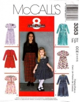 McCalls 3353 Girls Dress, Knee or Ankle Length Sewing Pattern 3 4 5 6 Uncut