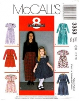 McCalls 3353 Girls Dress, Knee or Ankle Length Sewing Pattern 7 8 10 Uncut