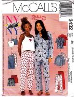 McCalls 3432 Nightgown, Cami & Pajamas PJs Sewing Pattern Junior 3/4-9/10 B28-32 Uncut