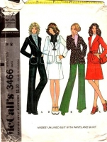 McCalls 3466 Vintage 70s Shawl Collar Jacket, Skirt & Flared Pants Sewing Pattern 18 B40 Used