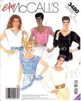 McCalls 3480 Pullover, Lace Inset Top, Shirt Sewing Pattern 10-16 B32-38 Uncut
