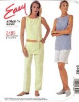 McCalls 3482 Sleeveless Tunic Top, Pull-on Pants & Shorts Pattern 10-16 B32-38 Uncut