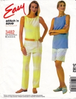 McCalls 3482 Sleeveless Tunic Top, Pull-on Pants & Shorts Pattern 18-24 B40-46 Uncut